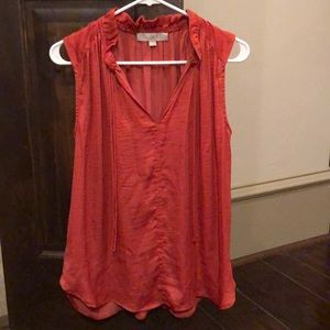 Ann Taylor Coral blouse with front tie, EUC Small
